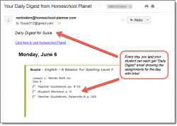 Homeschool Planet A Reason for Spelling daily digest screenshot button