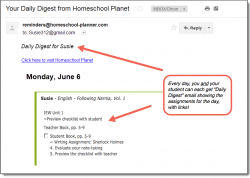 Homeschool Planet Following Narnia email digest screenshot button