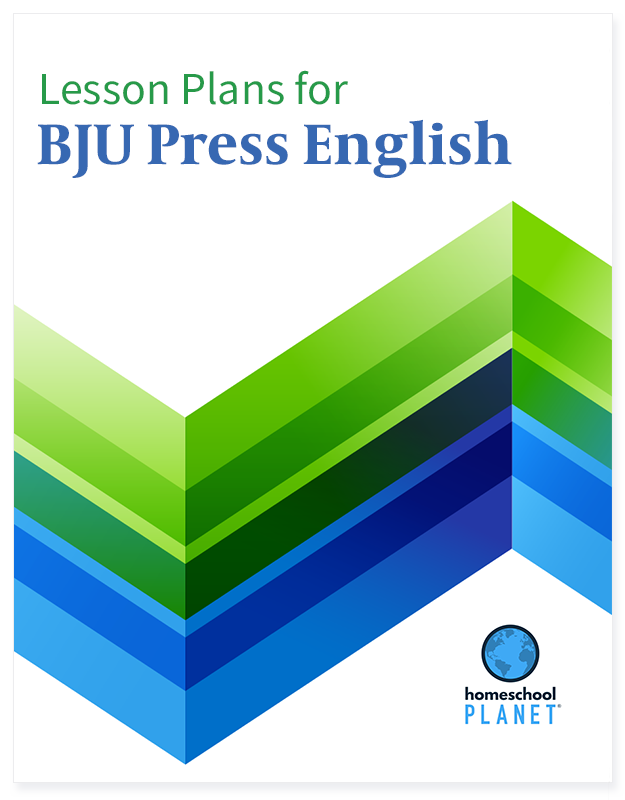 BJU Press English lesson plan button for homeschool planet