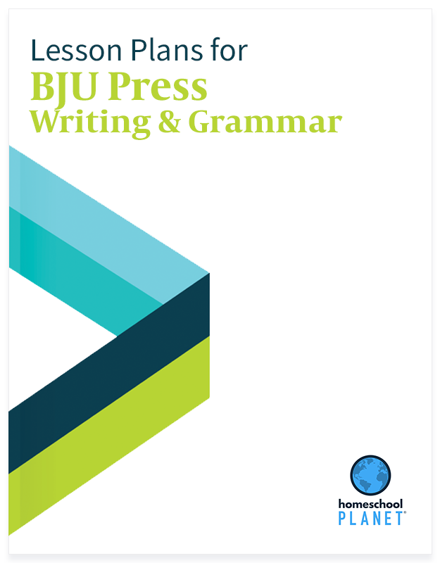BJU Press Writing & Grammar lesson plan button for homeschool planet