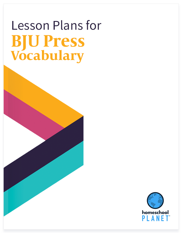BJU Press Vocabulary lesson plan button for homeschool planet