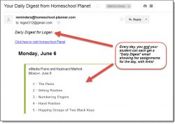 Homeschool Planet Lesson Plan Piano Email Digest screenshot button