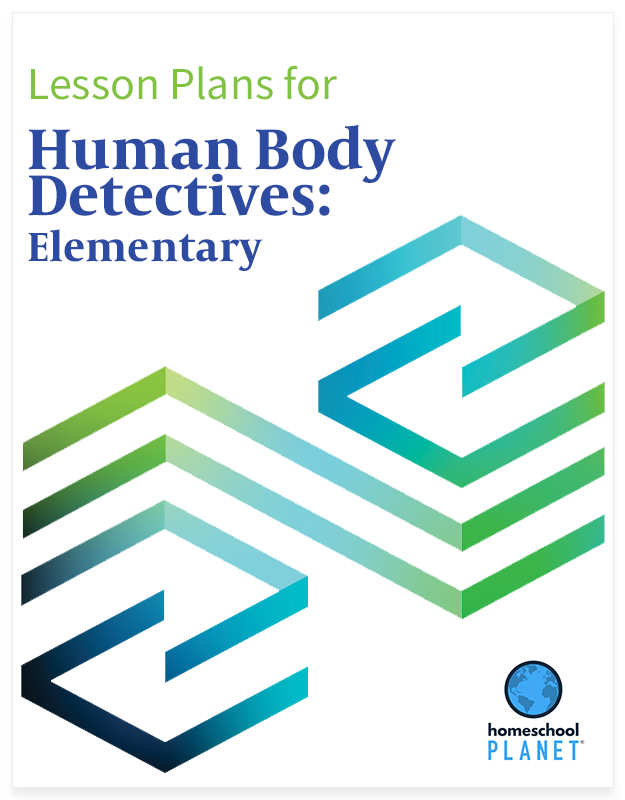 Human Body Detectives Elementary lesson plan button for homeschool planet
