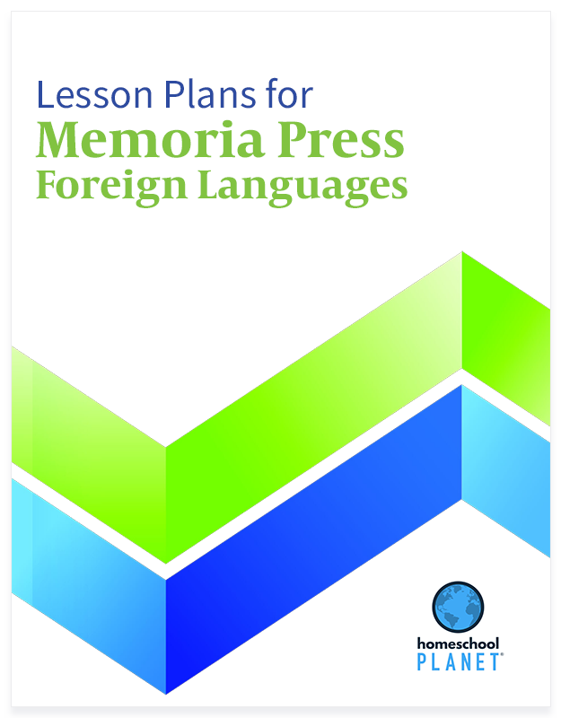 Memoria Press Foreign Languages lesson plan button for homeschool planet