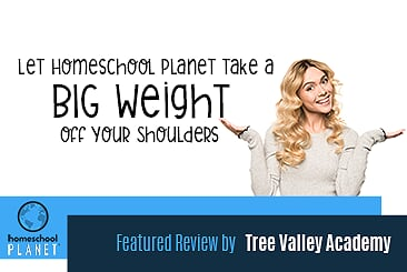 Homeschool Planet Big Weight off your shoulders review by Tree Valley Academy button