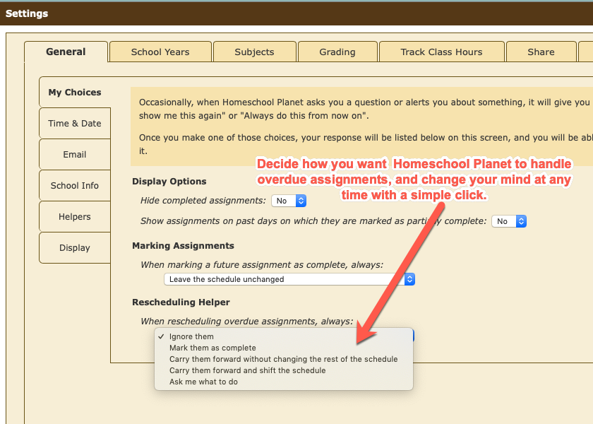 Homeschool Planet Customization Options screenshot button