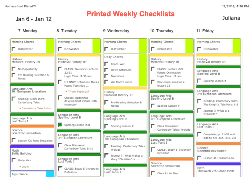 Homeschool Planet Printed Weekly Checklist screenshot button
