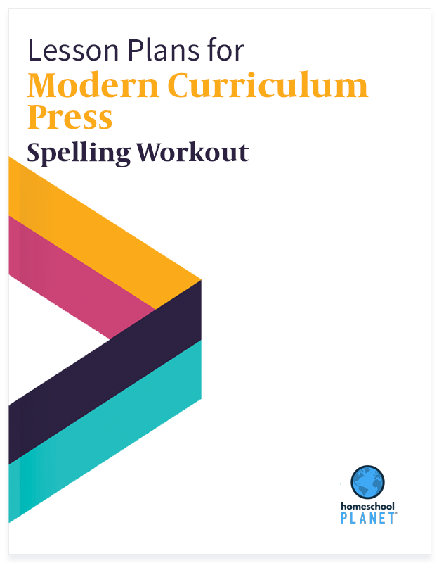 Modern curriculum press Spelling Workout lesson plan button for homeschool planet
