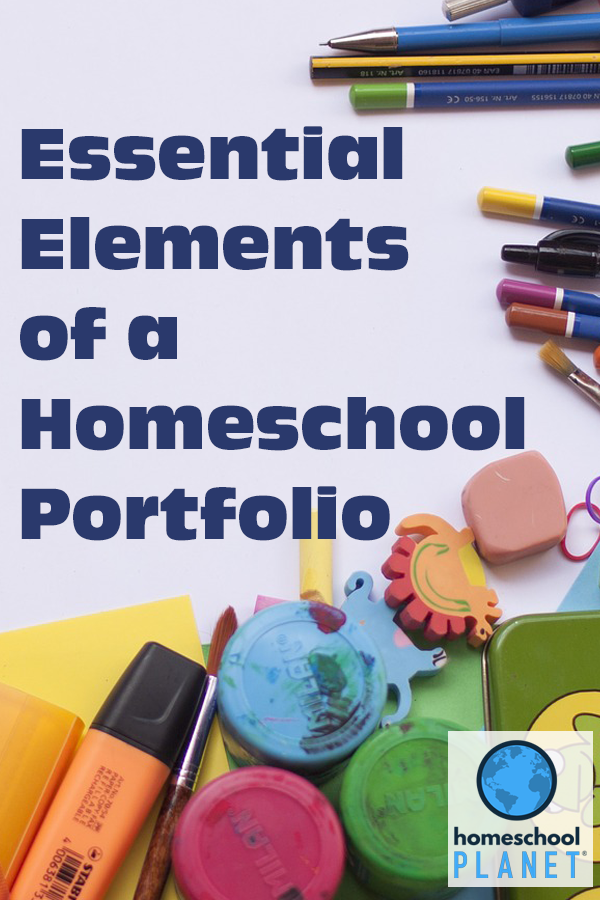 Homeschool Planet Essential Elements of a Homeschool Portfolio Blogspot button