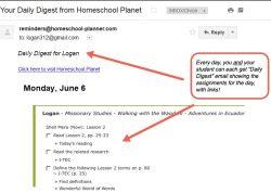 Homeschool Planet Waodani Daily Digest button