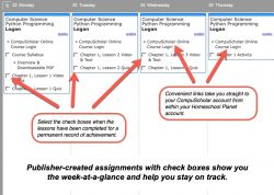 Homeschool Planet Compu Scholar lesson plan weekly view button
