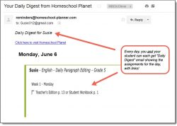 Homeschool Planet Daily Paragraph Editing Daily Digest button