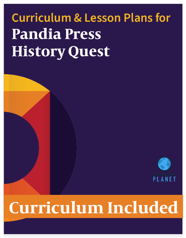 Pandia Press History Quest lesson plans and curriculum button for Homeschool Planet