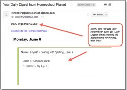 Homeschool Planet Soaring with Spelling Daily Digest button