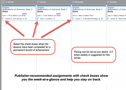 Homeschool Planner Applications in Grammar weekly view button