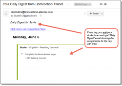 Homeschool Planner Reading Journal Daily Digest button
