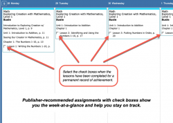 Homeschool Planner Apologia Math weekly view button