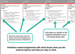 Weekly view of publisher-created assignments for Captivating Compass