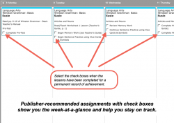 Weekly view of publisher-recommended assignments for Winston Grammar