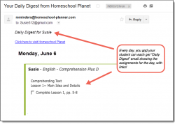 Homeschool Planet Comprehension PLUS daily digest button